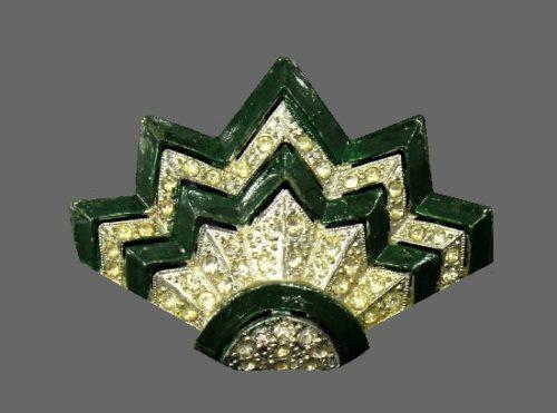 Art Deco dress clip. Green enamel, pave rhinestone