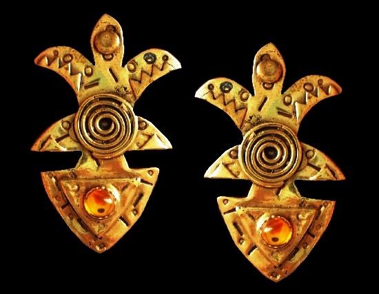 Avan-garde design brass earrings. Textured metal, yellow glass