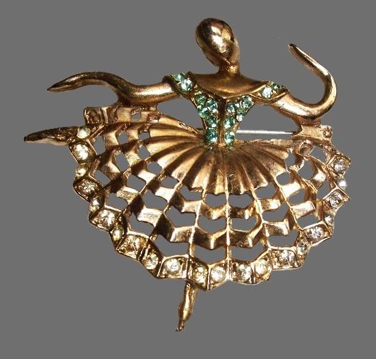Ballerina brooch. Gold tone, rhinestones. 1940s