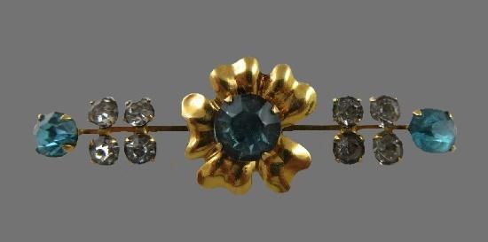 Bar floral motif brooch pin. 12 K gold filled, rhinestones