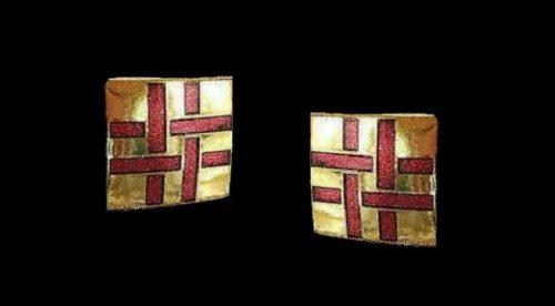 Basket weave pattern earrings of gold tone, pink enamel. 1980s