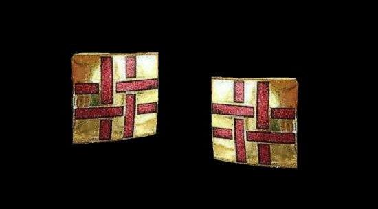 Basket weave pattern earrings of gold tone, pink enamel. 1980s