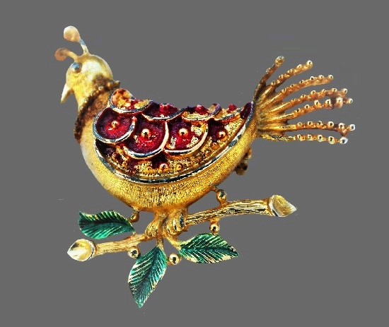 Bird brooch. Gold tone metal, enamel. 1960s