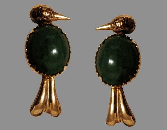 Bird clip on earrings. Alaska jade, 12 K gold filled