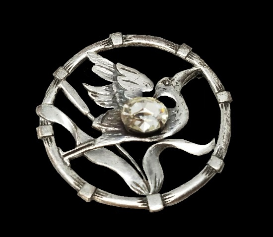 Bird in a circle brooch pin. Silver tone, rhinestone