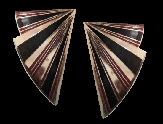 Black and red stripe gold tone stud earrings. 1980s