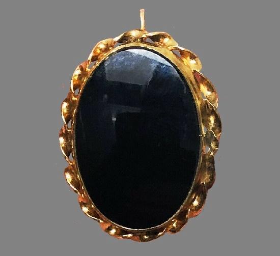 Black onyx mourning brooch, 12 K gold filled