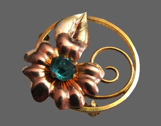 Blue rhinestone 12 K gold filled flower brooch