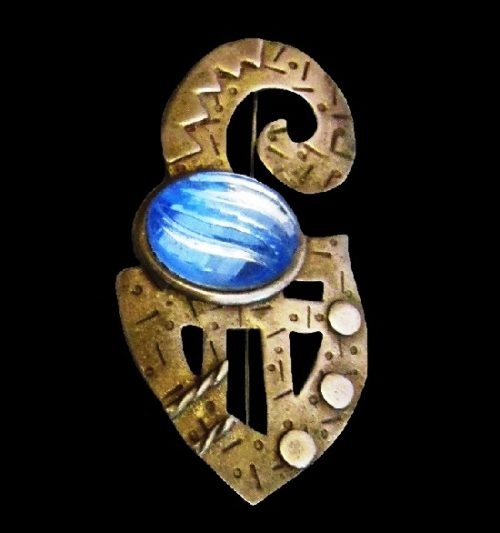Blue stone textured bronze brooch