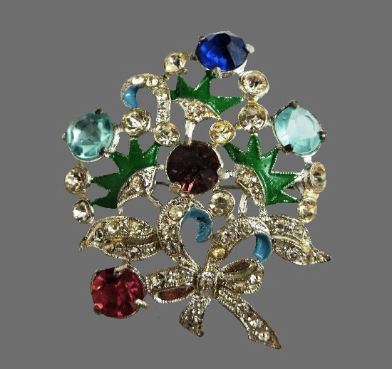 Bow and flower brooch. Silver tone pot metal, blue and green enamel, rhinestones