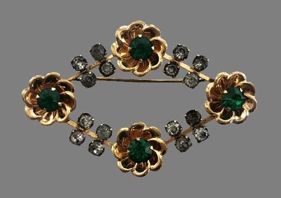 Bright green rhinestones flower design wreath brooch, 12 K gold filled