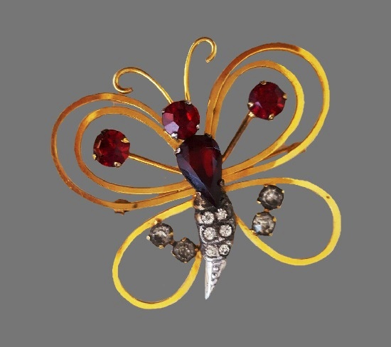Butterfly pin. Gild filled, natural stones, rhinestones