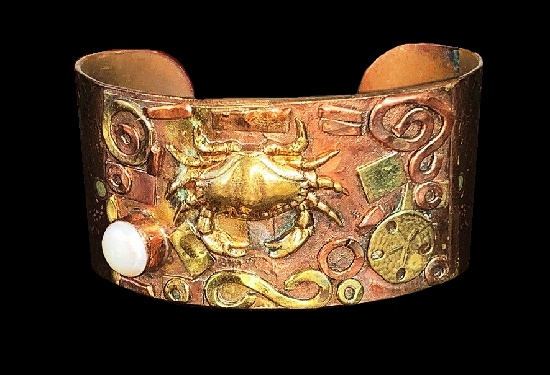Cancer zodiac sign cuff bracelet. Mixed metals, pearl