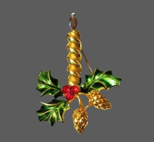 Candle holy leaves acorns Christmas brooch of gold tone, rhinestones