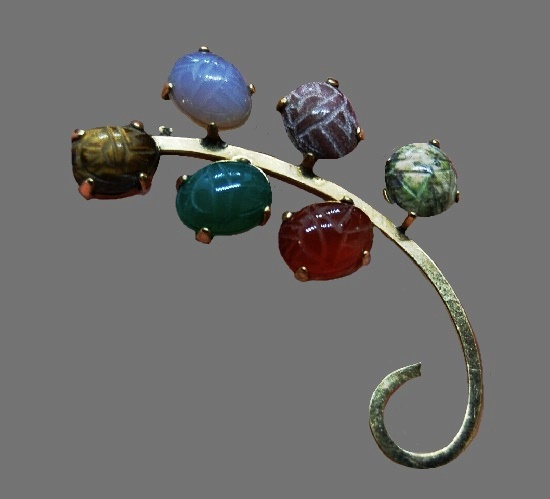 Carnelian jade, tiger eye carved scarab brooch
