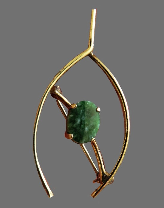 Celtic wishbone pin brooch. Green jade, 12K gold filled