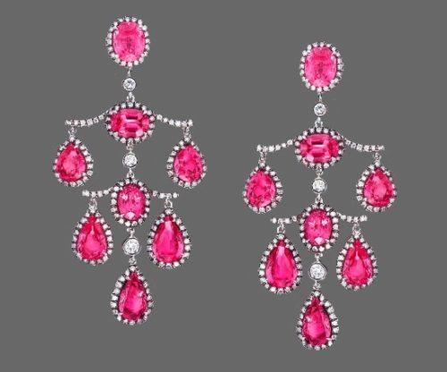 Chandelier earrings. Platinum, pink sapphires, diamonds. 6.9 cm