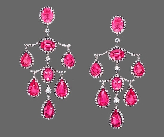 Chandelier earrings. Platinum, pink sapphires, diamonds. 6.9 cm