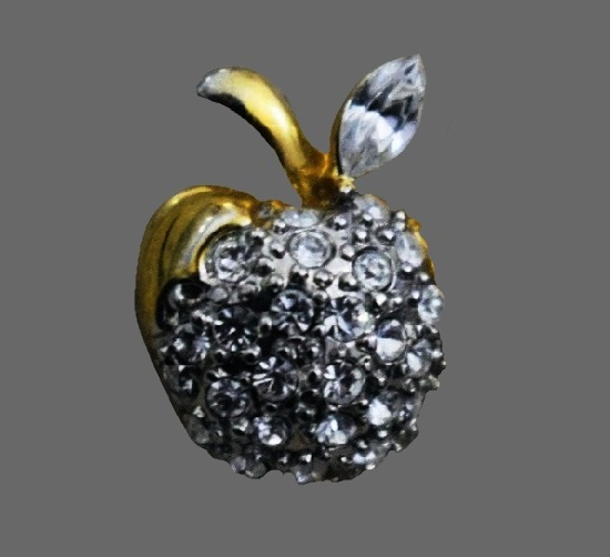 Charming Apple brooch. Gold tone, rhinestones