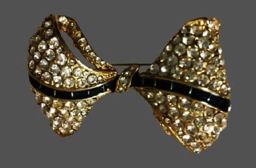 Clear rhinestone gold tone metal bow brooch
