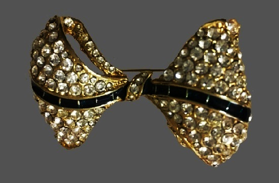 Clear rhinestone gold tone metal bow brooch