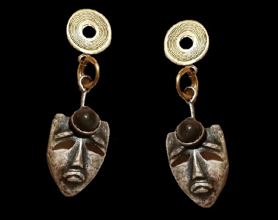 Cliff hanger semi-precious stones dangle earrings