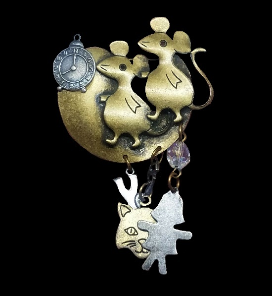 Clocks and Mice on the Moon dangle brooch. Mixed Metals 1993