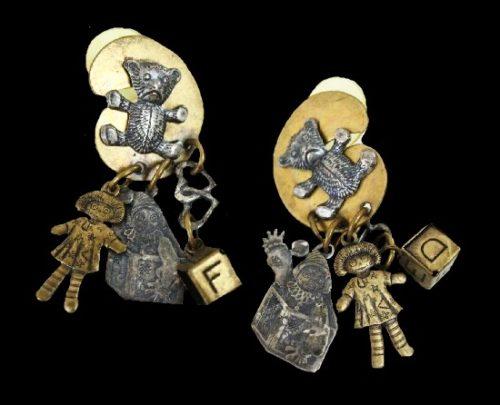 Collage statement dangle earrings. Teddy bear, Raggity Ann, cube and heart