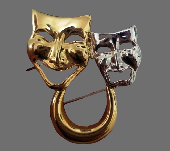 Comedy Tragedy Masks Brooch. Gold and silver tone metal
