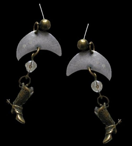 Cowboy boot and Moon dangle earrings. 1994