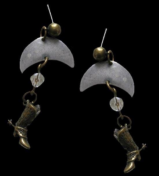 Cowboy boot and Moon dangle earrings. 1994