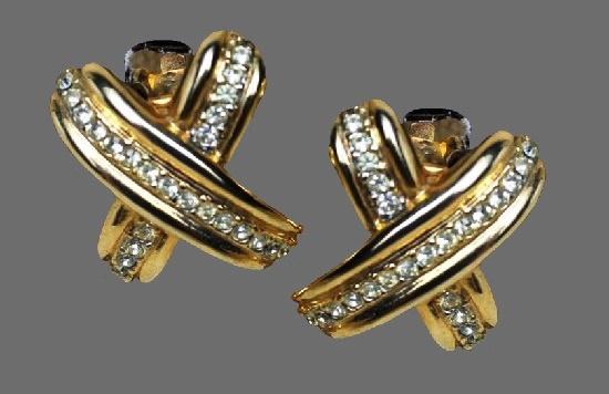 Cross clip on earrings. Gold tone metal, rhinestones
