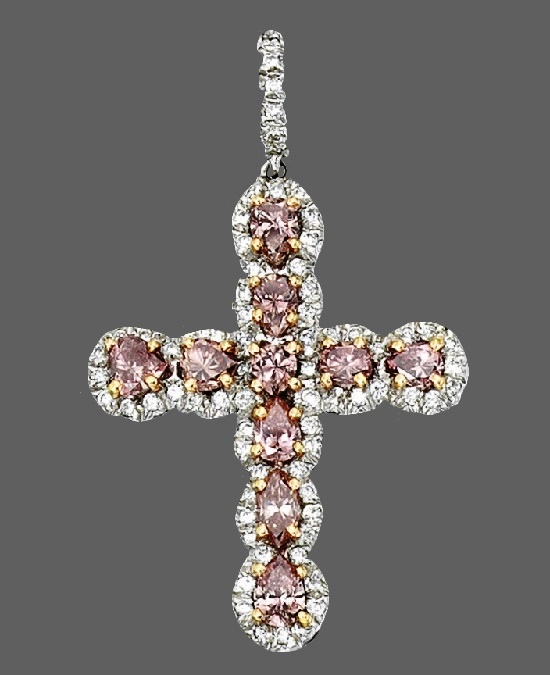 Cross pendant. Colored and clear diamond
