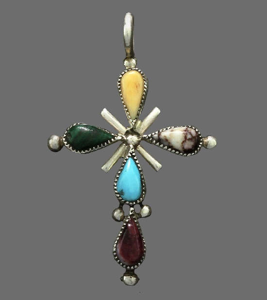 Cross style art Deco pendant. Sterling silver, cabochons