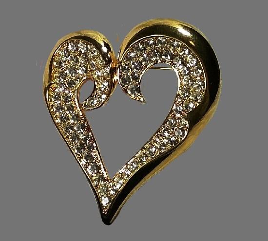 Crystal heart gold tone brooch