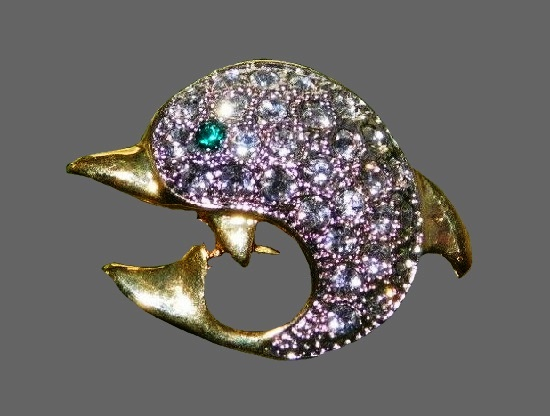 Dolphin brooch. Gold tone metal, rhinestones