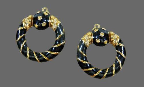 Door knocker earrings. 14 K gold filled, rhinestones, black enamel