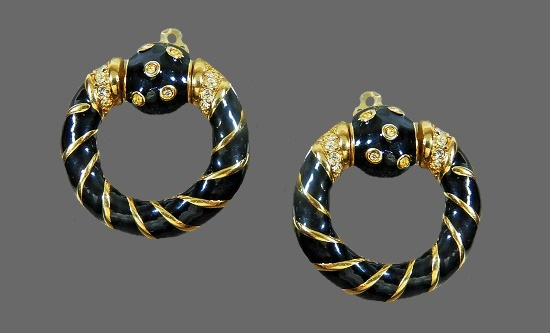 Door knocker earrings. 14 K gold filled, rhinestones, black enamel
