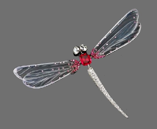 Dragonfly brooch. Diamonds, red spinel, white translucent jade