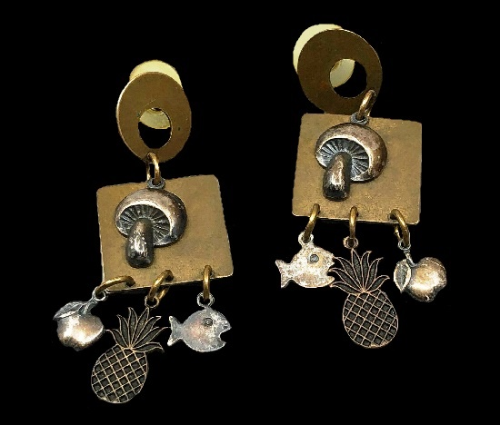 Drop dangle earrings with mushrooms, fish, pineapple and apple