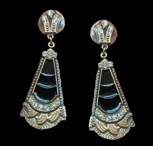 Drop dangle pierced earrings. Pewter, rhinestone, black enamel