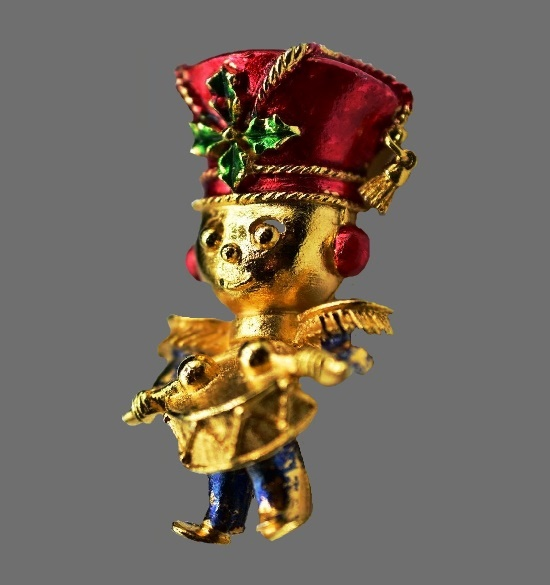 Drummer Boy Christmas brooch. Gold tone, blue and red enamel