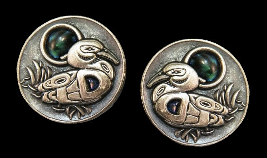Duck earrings. Pewter, glass cabochon