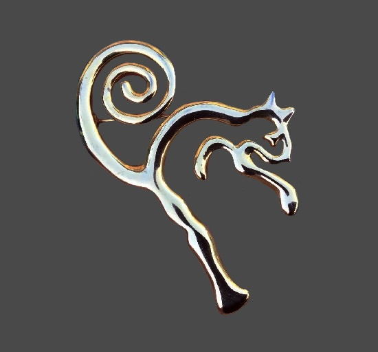 Squirrel gold tone brooch. 1980s