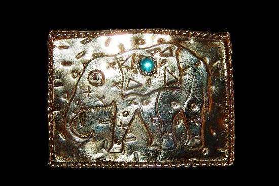 Elephant brooch. Textured metal, blue stone. 1950s