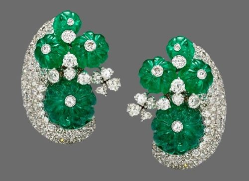 Emerald and diamond clip on earrings