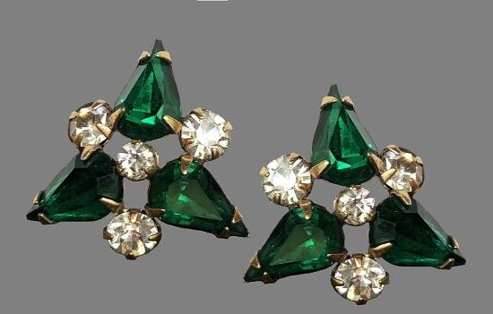 Emerald green and clear rhinestone earrings. 12K Gold Filled