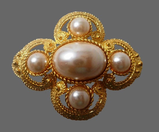 Etruscan brushed gold tone and faux pearl pin
