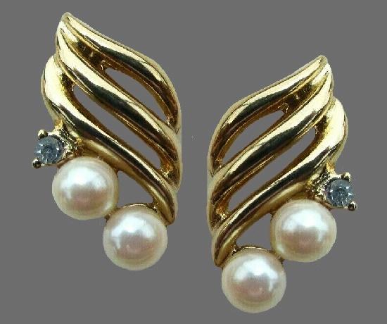 Faux pearl, crystal gold tone earrings