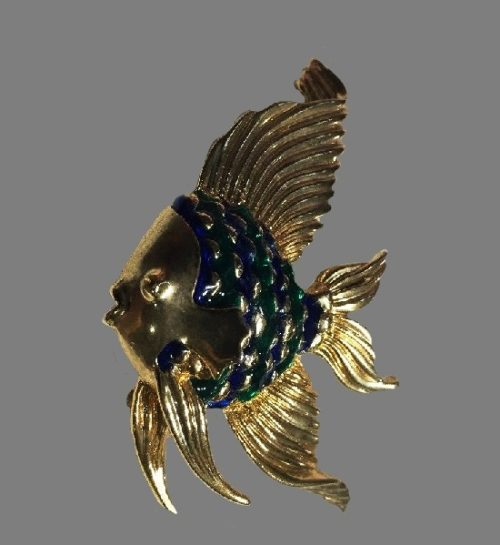 Fish brooch. Gold tone metal, blue and green enamel. 1980s
